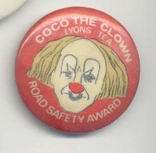 Coco the Clown safety award pin
