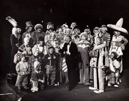 Danny Kaye with the Ringling Brothers clown alley from a 1979 TV special