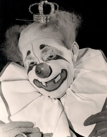 Felix Adler, King of Clowns, in his iconic white face makeup
