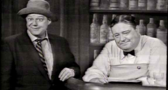 Jackie Gleason as the bartender with barfly Crazy Guggenheim