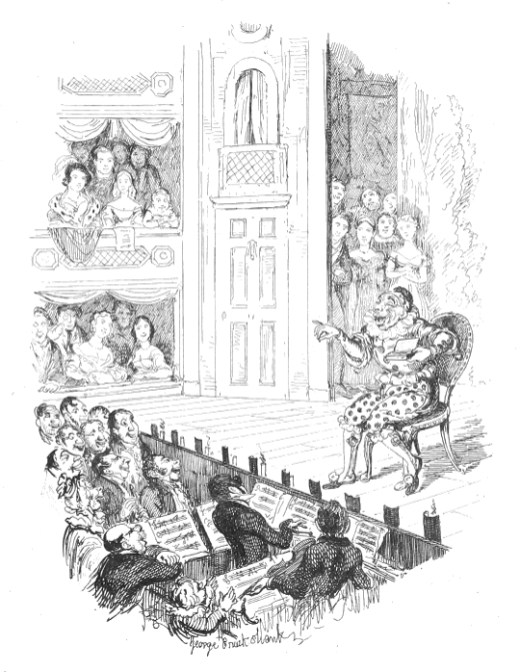 Joseph Grimaldi at his final appearance in 1828, too weak to stand and so remaining sitting throughout the performance