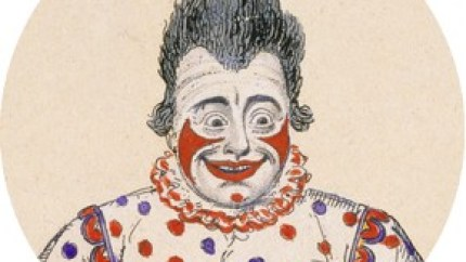 The actor Joseph Grimaldi as Clown in the pantomime Harlequin and Friar Bacon by Bonnor and O'Keefe staged at the Theatre Royal, Covent Garden London in 1820. Detail from hand-coloured etching by George Cruikshank (1792 – 1878), first published in the 19th century.