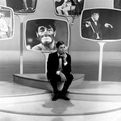 Jerry Lewis with screen shots, from his late-night TV show
