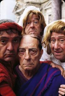 Color photo of Buster Keaton with his fellow cast members in A Funny Thing Happened on the Way to the Forum