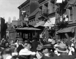 "Harold Lloyd ""driving"" the streetcar in Speedy"