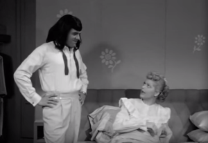 Ricky models Lucy's black wig in Lucy is Jealous of Girl Dancer