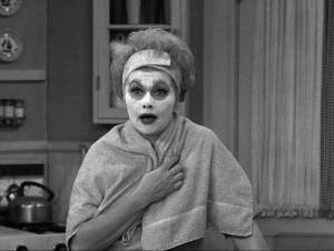 Lucille Ball in beauty makeup in The Lucy Show