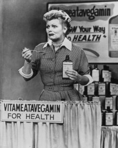 """Lucy as the spokeswoman for Vitameatavegamin - """"And it's so tasty, too!"""""""