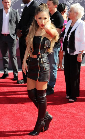 Ariana Grande - Leather Mini Dress & High Boots