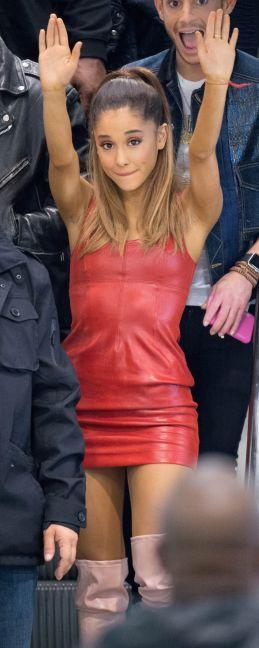Ariana Grande - Leather Mini Dress & High Boots