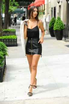 Emily Ratajkowski . Leather Mini Skirt