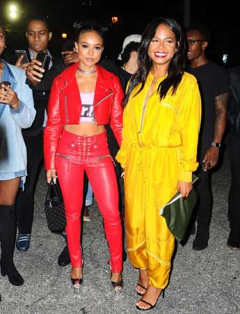 Karrueche Tran - Leather Jacket & Pants