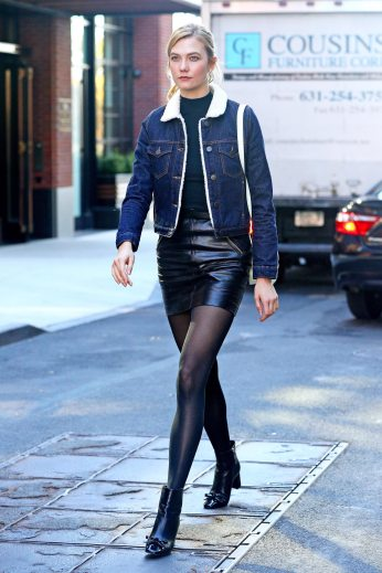 Karlie Kloss - Leather Mini Skirt