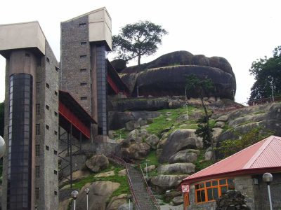olumo rock tourist complex shot on a clear day