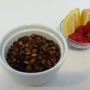 Ethiopian Nekemte roasted by Family's Favorite Foods pairs well with citrus fruits and raspberries
