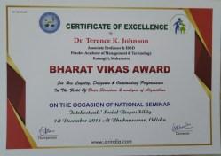 Bharat Vikas Award Certificate