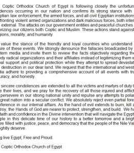 Coptic Church statement on destroyed churches