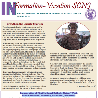 IN Formation Spring Newsletter of Sisters of Charity of St. Elizabeth