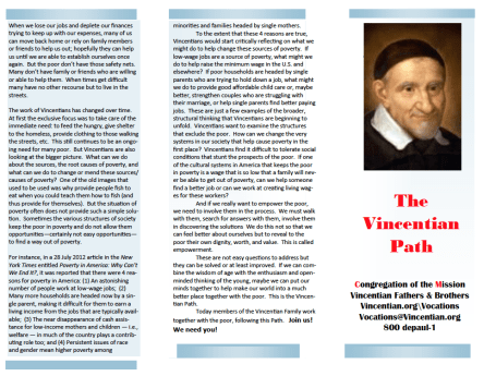 What is the Vincentian Path? (Trifold pamphlet)