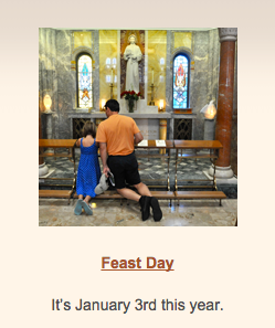 Reminder  – Seton Shrine celebrates  JAN 3!