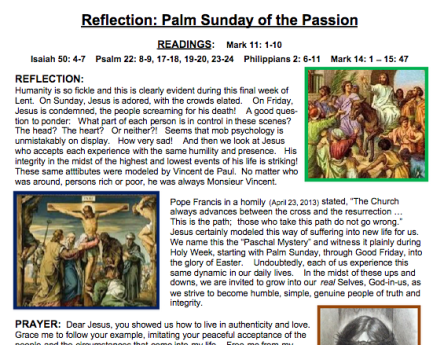 "Ladies of Charity reflect on ""Mob psychology"" and Palm Sunday"