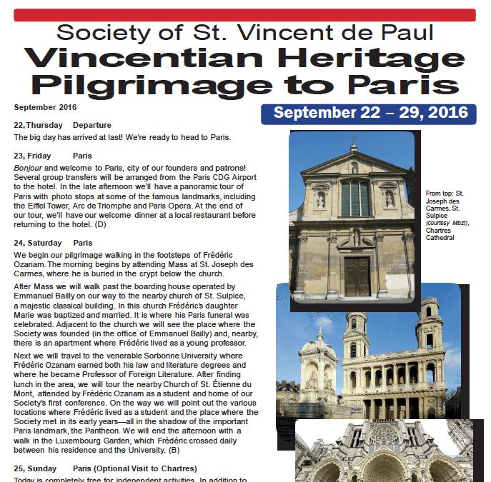Society of  St. Vincent de Paul Vincentian Heritage Pilgrimage to Paris