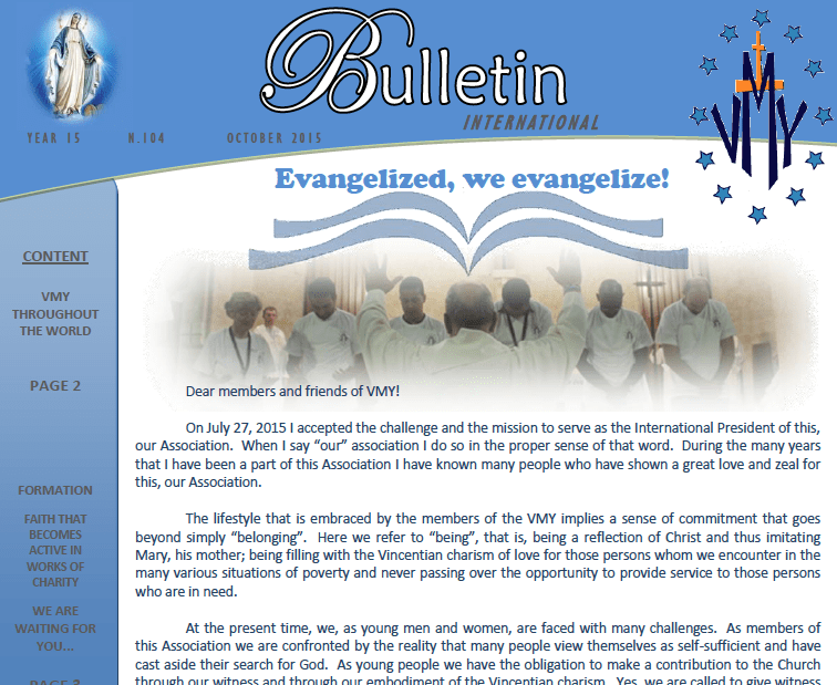 October Bulletin of Vincentian Marian Youth