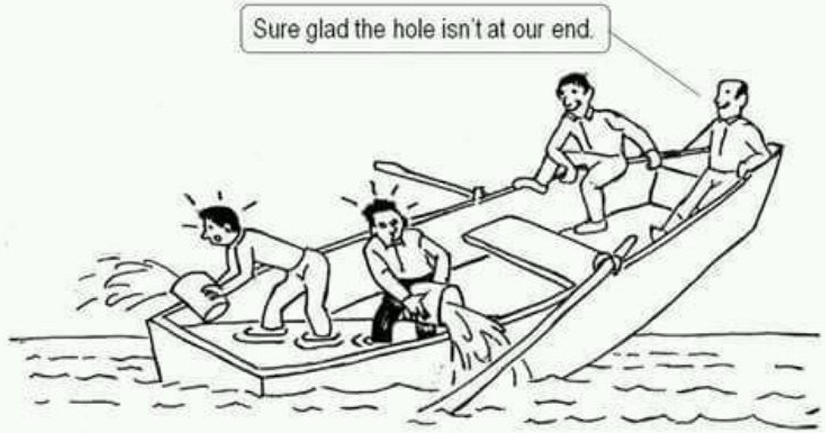 Image result for hole in the boat cartoon