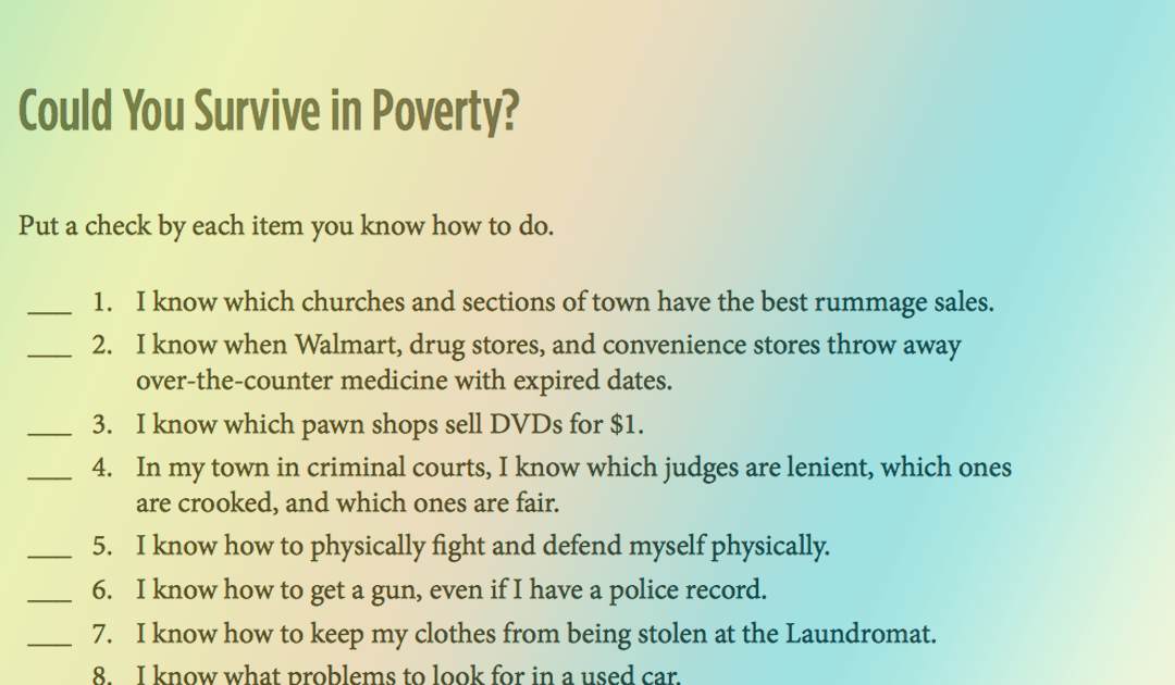 Could You Survive in Poverty – 18 Quick Questions