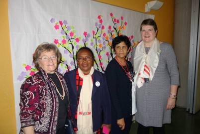 Leadership of Madagascar and USA. Rose de Lima and Marie Therese Razafindravao of Madagascar, Mary Ann Dantuono and Suzanne Johnson President of LCUSA. The President from Madagascar, Marie Therese Razafindravao, thanked AIC-USA for their twinning financial support of sustainable development endeavors in Madagascar in her presentation before the Assembly.