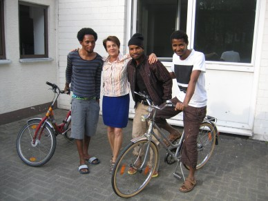 Bicycle Project for migrants in Paderborn. Germany on April 2017