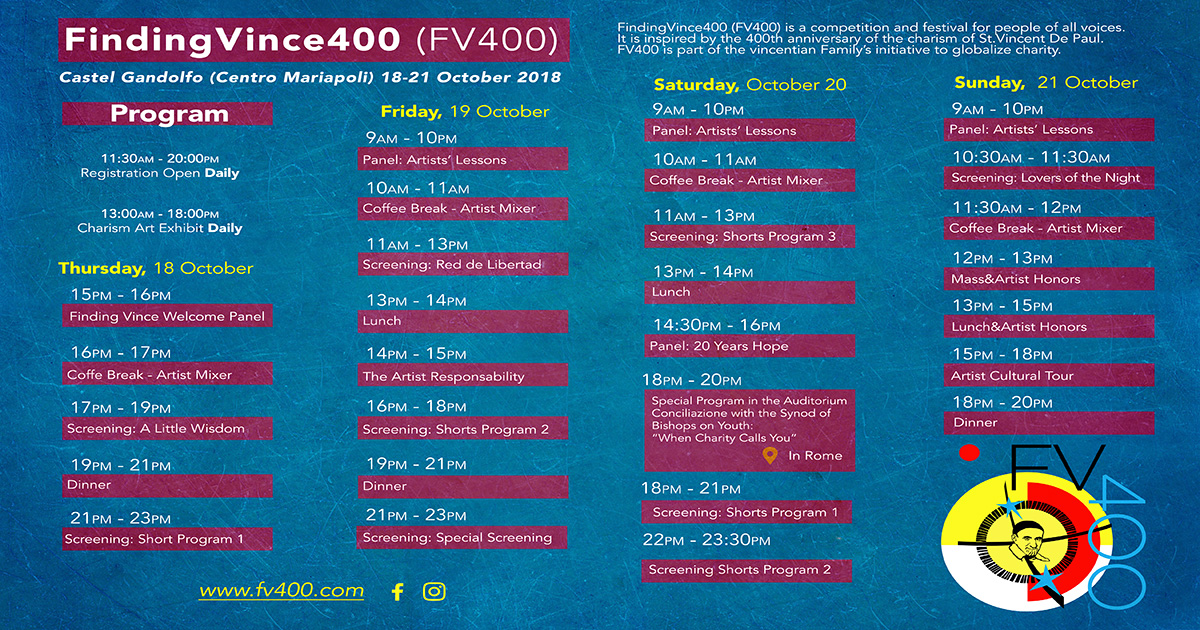 """Finding Vince 400"" Symposium Schedule"