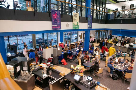 """DePaul students, staff and faculty gather at the Ray Meyer Fitness and Recreation Center on DePaul's Lincoln Park Campus for the annual Vinny Fest, Friday, Sept. 27, 2019. The carnival-like event featured prizes and trivia games that highlighted the life of St. Vincent de Paul, the Vincentian mission and the school's """"name above the door."""" (DePaul University/Randall Spriggs)"""