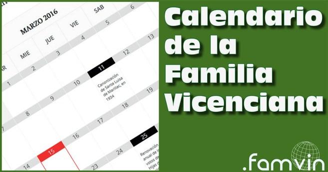 ¿En qué día…? Un calendario de la Familia Vicenciana