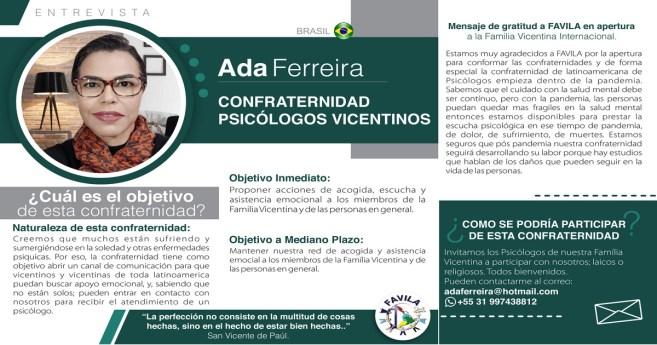 Entrevista a Ada Ferreira, responsable de la Confraternidad de Psicólogos vicentinos