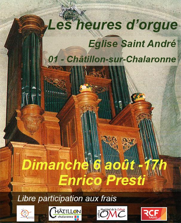 Concert d'orgues du 6 août à Châtillon sur Chalaronne