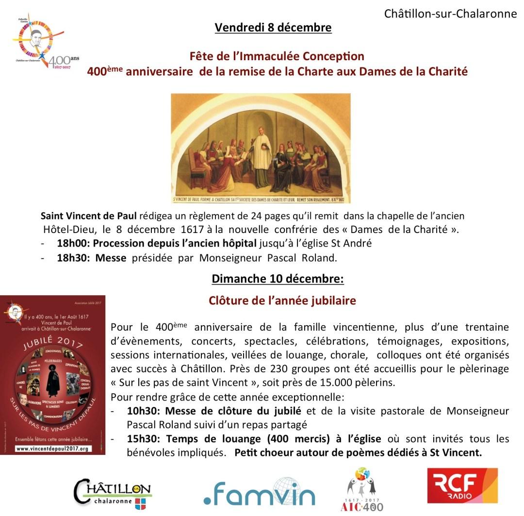 Clôture de l'année Jubilaire à Châtillon et anniversaire du 400ème anniversaire de la remise de la 2ème charte aux Dames de la Charité