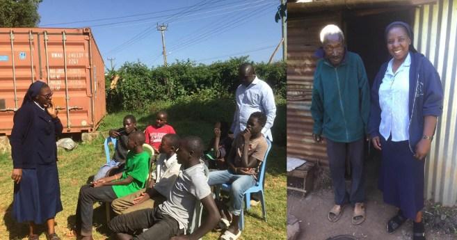 Jeunes et vieux, soutenus par les Filles de la Charité au Kenya