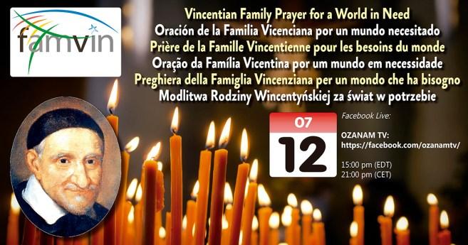 Lembre-se: no dia 12 de julho você está convidado a rezar com toda a Família Vicentina mundial