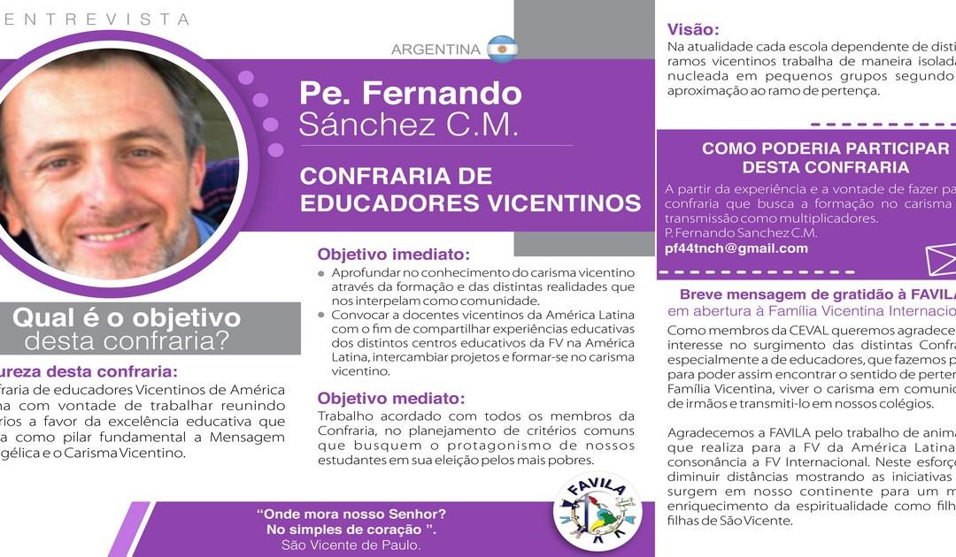 Entrevista com Pe. Fernando Sánchez, CM, coordenador da Confraria de Educadores Vicentinos
