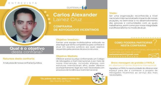 Entrevista com Carlos Alexander Lainez Cruz, coordenador da Confraria de Advogados vicentinos