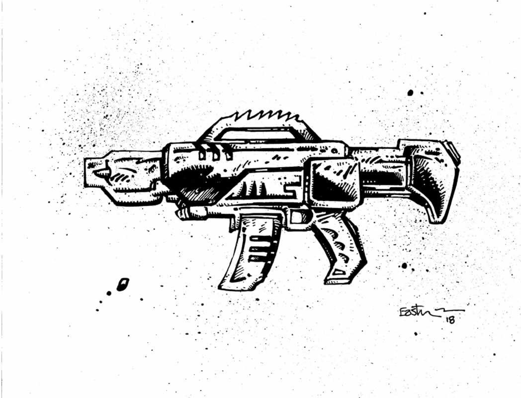 Munchkins Tmnt Fugitoid And Neutrino Rifle Art Plus Game Kevin Eastman Studios