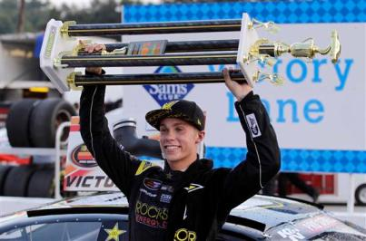 Dylan Kwasniewsli celebrates his fifth K&N Pro Series East win of the season.  Photo - Bob Leverone/Getty Images