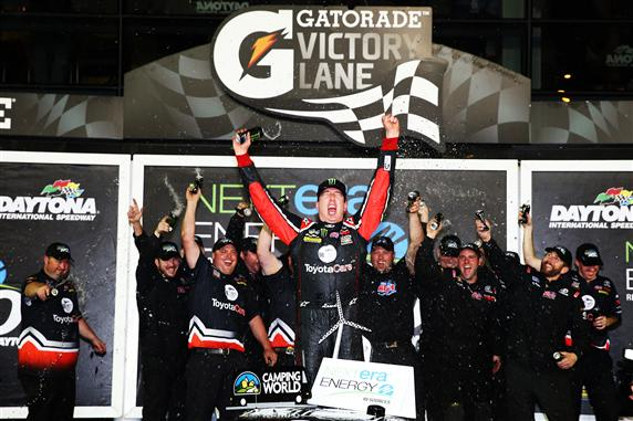 Kyle Busch, driver of the #51 ToyotaCare Toyota, celebrates in Victory Lane after winning during the Camping World Truck Series NextEra Energy Resources 250 at Daytona International Speedway on February 21, 2014  Photo - Tom Pennington/Getty Images