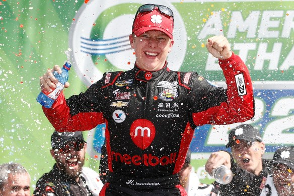 JOLIET, IL - SEPTEMBER 19: John Hunter Nemechek, driver of the #8 Chevrolet, celebrates in Victory Lane after winning the NASCAR Camping World Truck Series American Ethanol E15 225 at Chicagoland Speedway on September 19, 2015 in Joliet, Illinois. (Photo by Jeff Zelevansky/NASCAR via Getty Images)