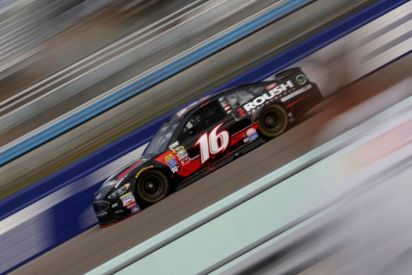 Greg Biffle, driver of the #16 Roush Performance Ford, practices for the NASCAR Sprint Cup Series Ford EcoBoost 400 at Homestead-Miami Speedway on November 19, 2016 in Homestead, Florida. Photo - Sarah Crabill/Getty Images