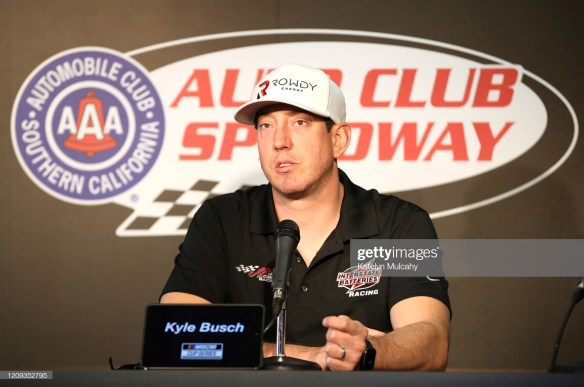 Kyle Busch speaks with the media at Auto Club Speedway February 18, 2020.
