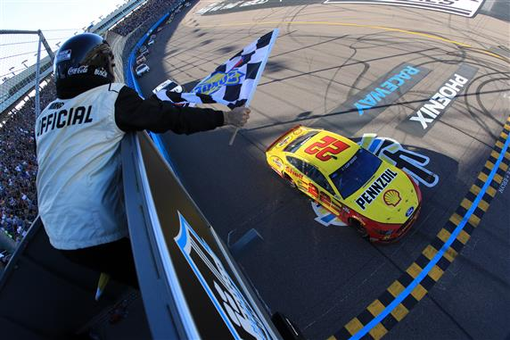 Joey Logano takes the FanShield 500 Checkered Flag at Phoenix Raceway on Sunday, March 8, 2020