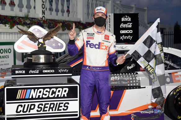 Denny Hamlin wins at Pocono Raceway in the NASCAR Cup Series Pocono 350 on Sunday afternoon in the second race of a doubleheader weekend for the series.