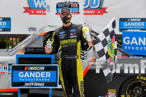 Grant Enfinger Captures Win in the NASCAR Gander & RV Outdoors Truck Series Vet Tix Camping World 200 at Atlanta Motor Speedway.
